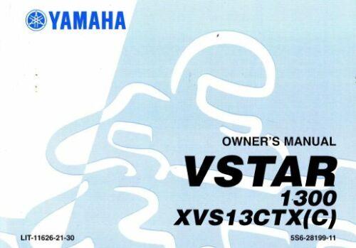 2008 Yamaha XVS1300 V Star Motorcycle Owners Manual LIT-11626-21-30