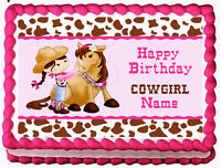 Cowgirl And Horse Birthday Image Edible Cake Topper