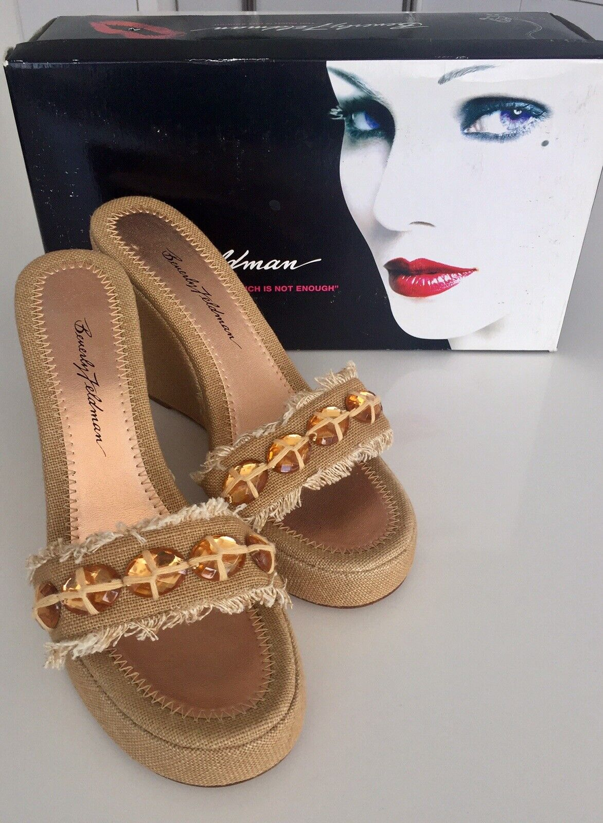 Beverly Feldman Open Toe Canvas Beaded Wedge Platform High Heel Sandals Slides 8