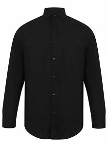 Mens-Ex-Store-Black-Plain-Formal-Work-Shirt-Long-Sleeve-Slim-Fit-Sizes-15-034-16-5-034