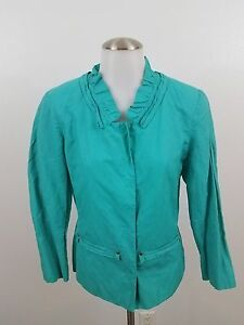 t-tahari-8-womens-ruffle-jacket-blue-teal-shirt-work-career-long-sleeve-button