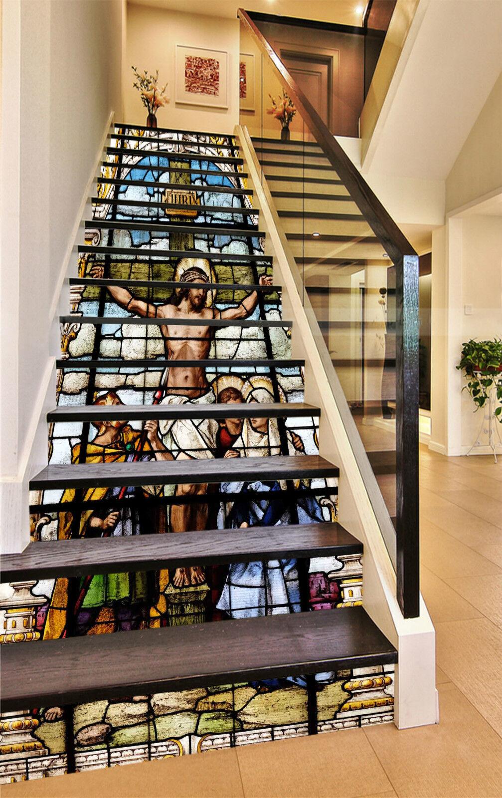 3D Jesus Portrt 07 Stair Risers Dekoration Fototapete Vinyl Aufkleber Tapete DE
