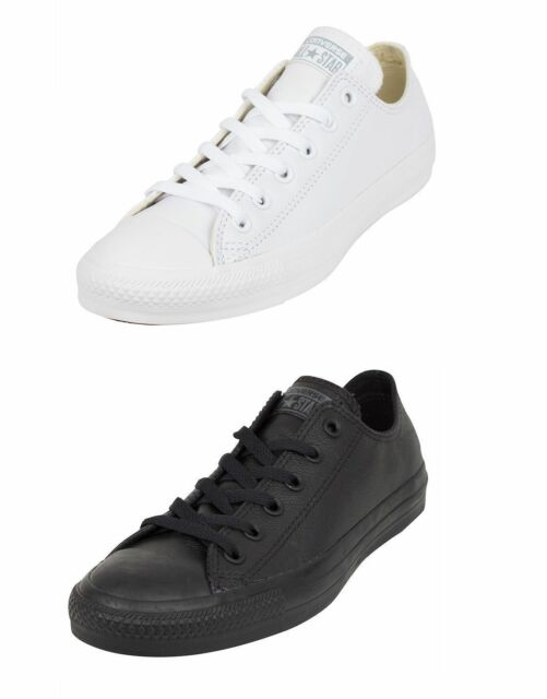 f7fc6eb141ab Converse Chuck Taylor All Star Ox Low Top Mono White Leather Unisex Trainers