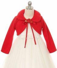 White Flower Girl Bolero Jacket Coat Wrap Wedding Christmas Pageant Birthday 216