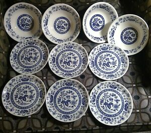Blue-amp-White-Bowls-Dishes-Made-in-Japan-4-soup-bowls-6-dessert-plates