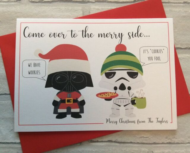 Merry Christmas Puns.Personalised Star Wars Themed Pun Christmas Card Funny Alternative Merry Side