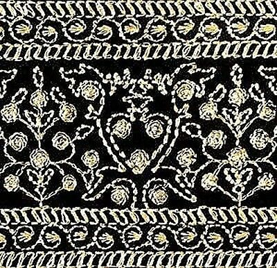 Wide, Iron-On Trim. Gold Embroidered on Black. 3 Yards