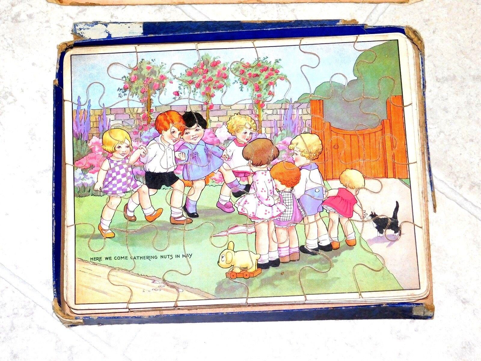 1920s Deco Wood Puzzle by Spears Games England Boxed 4 Puzzle Set Complete