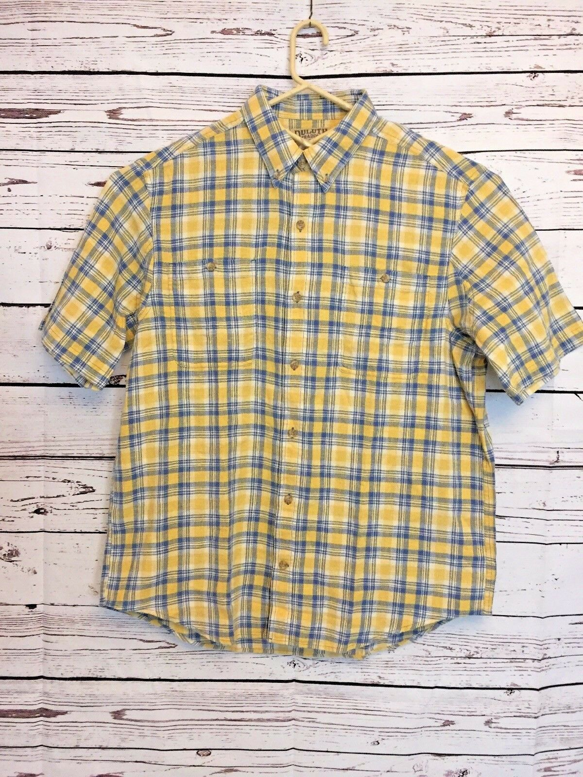 Duluth Trading Company Mens Large L Yellow bluee Plaid Hemp Organic Cotton F69