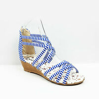 WOMENS LADIES GLADIATOR STRAPPY LOW WEDGE HEEL CROSS OVER SANDALS SHOES SIZE 3-8