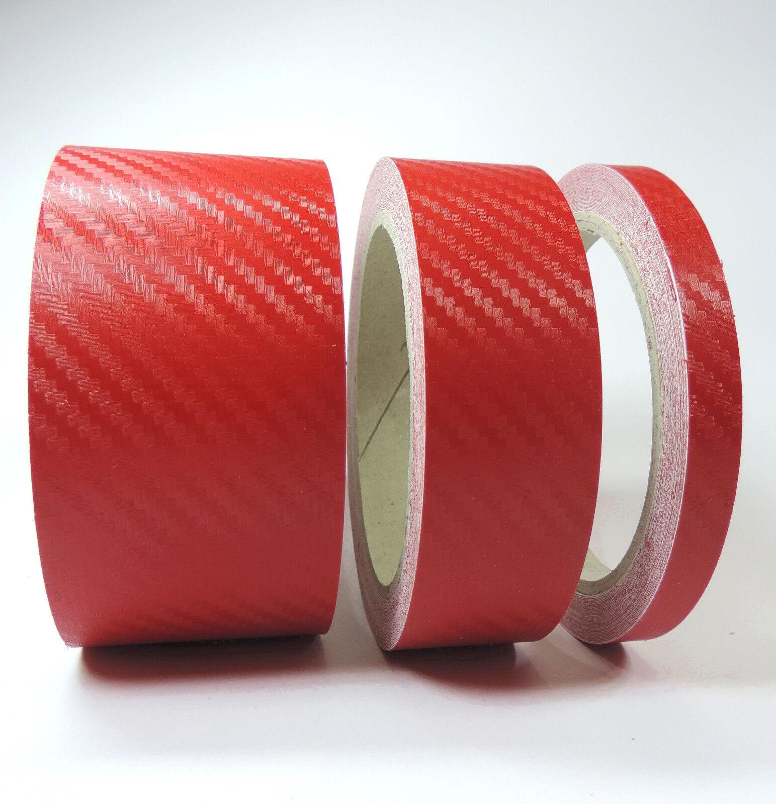 ZIERSTREIFEN 9mm CARBON ROT GLANZ red 10m Auto 9 Stripe Boot 0,9cm Dekor