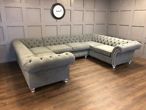 Corner Sofa Chesterfield Velvet Fabric