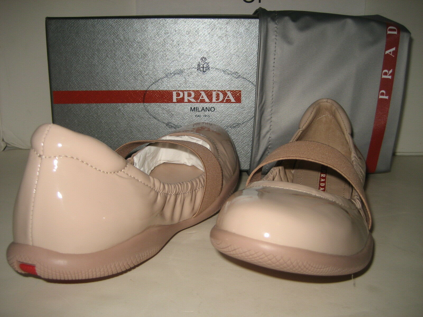 390 NEW PRADA Women US 9.5 Nude Patent Leather Ballet Flats Slip On shoes BOX