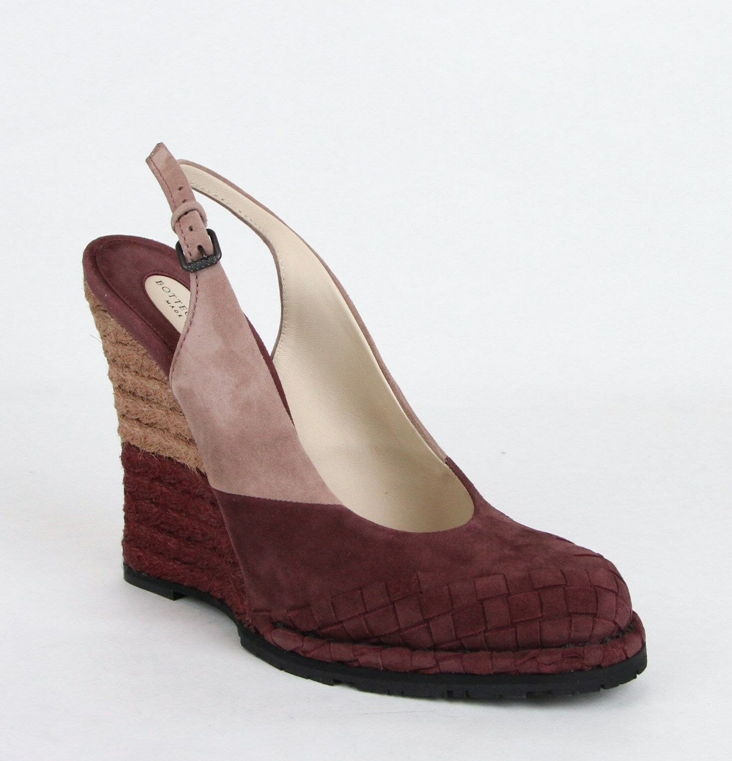 950 Bottega Veneta Women's Burgundy Luxe Kid Suede Wedge 40 US 10 465183 2200