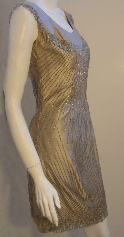 CEIL CHAPMAN 1950s Champagne Silk Shimmering Cock… - image 3