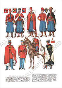 PLANCHE-UNIFORMS-PRINT-WWII-France-Cavalerie-Nord-Africaines-II-Spahi-Algerien