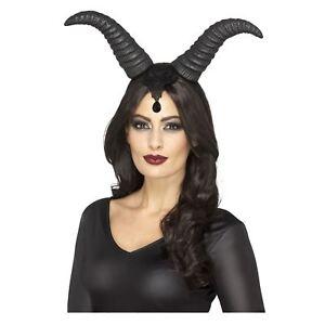 Damen Böse Königin schwarz Dämonisch Hupe Stirnband Märchen Bösewicht Kostüm