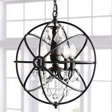 Benita Antique Black 4-light Iron Orb Crystal Chandelier
