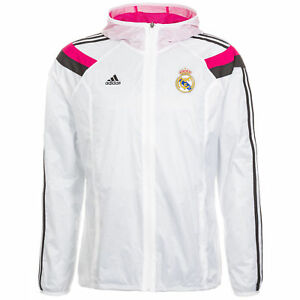 1361be60f33 Image is loading ADIDAS-REAL-MADRID-ANTHEM-WOVEN-JACKET-White-Pink