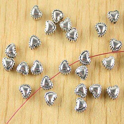 60pcs Tibetan silver heart spacer beads H2791
