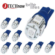 Jtech 10x T10 5 SMD LED Blue Super Bright Car Lights Bulb W5W, 194, 168, 2825,