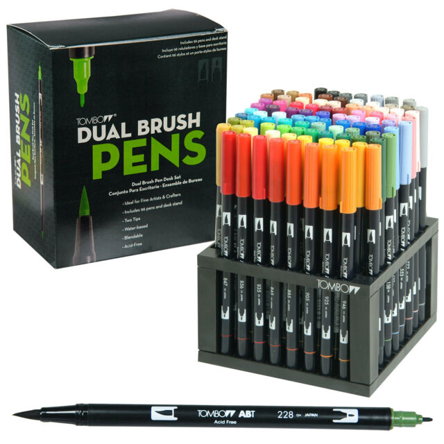 Tombow Dual Brush Pen Art Markers Color Set With Desk Stand EBay - Tombow abt markers