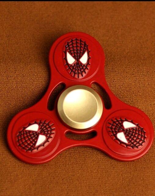 Red Alloy Metal Cartoon Spiderman Tri Fidget Hand Spinner Anti Stress Focus Toy