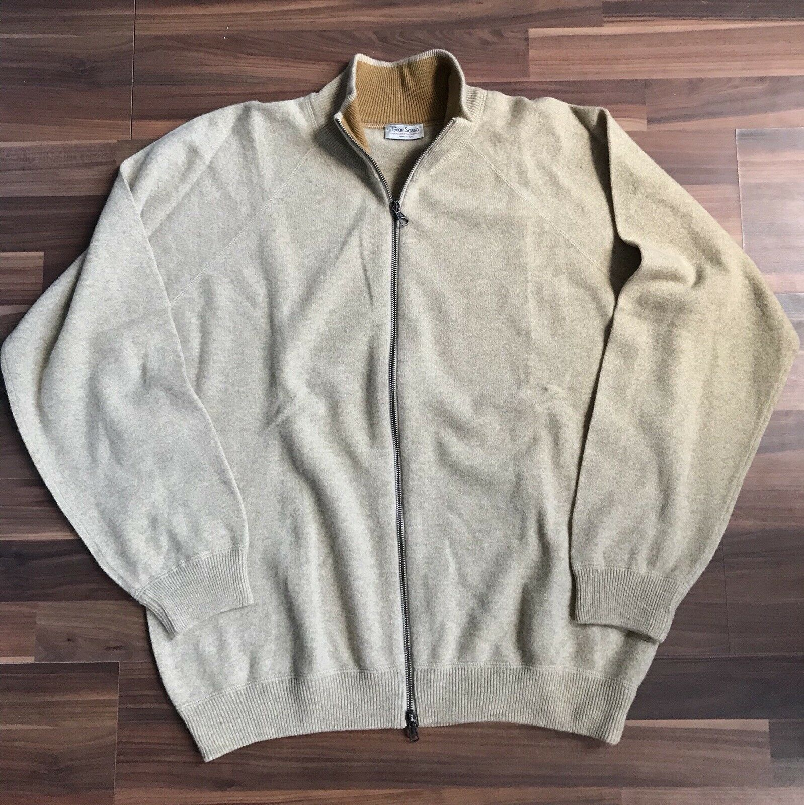 Gran Sasso Merino Cashmere Blend Zip Up Sweater Tan Sz XL