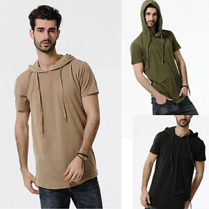 Summer-Mens-Hooded-Cotton-Short-Sleeve-Loose-Fit-T-shirt-Tee-Shirts-Tops-Blouse