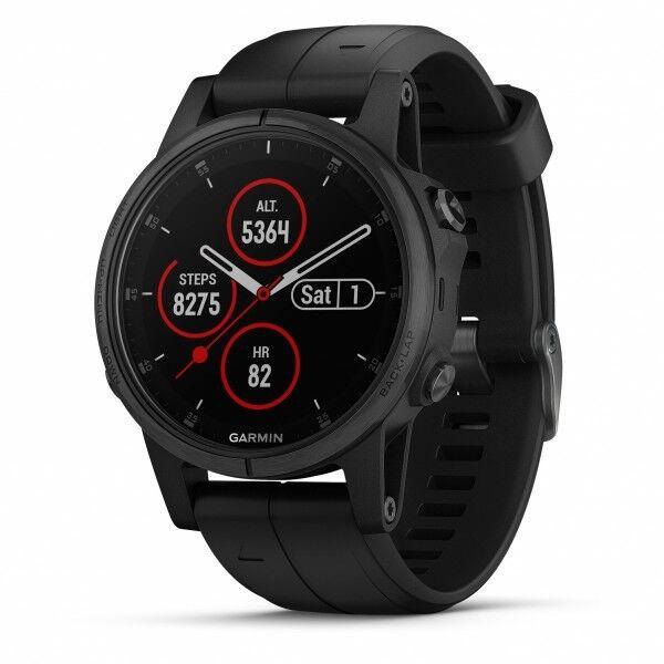 Garmin Fenix 5S Plus Zafiro Negro GPS Reloj con Negra Banda Negra con 010-01987-02 af792d