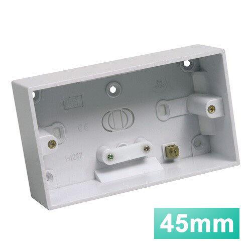 Mur pattress box 45mm double 2 gang surface blanc-plat