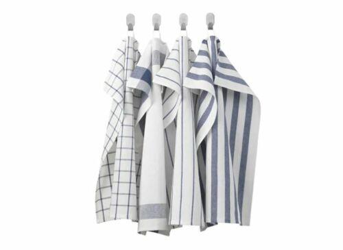 IKEA Elly Thé Serviette Bleu Blanc 4 Pack pour une utilisation quotidienne