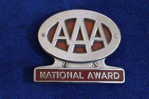 Vintage-AAA-National-Award-License-Plate-Topper-Trunk-Bumper-Badge-Emblem