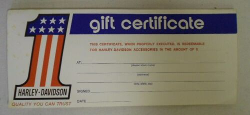 Robison Harley Davidson 1962 to 1993 Harley Davidson 69-81 Gift Certificate