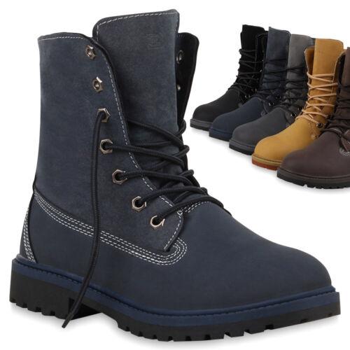 Klassische Damen Stiefeletten Worker Gr .36-42 Boots Schnürstiefel 70391 Trendy