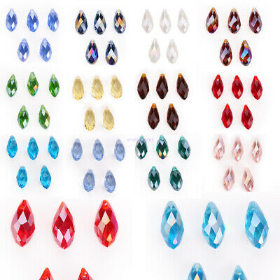 Wholesale 20Pcs Glass Loose Teardrop Charms Spacer Beads Crystal 6//8//10mm New