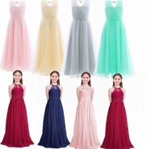 Flower Girl Dress Maxi Long Formal Ball Gown Kids Teens Wedding ... 1da37c8a3e54