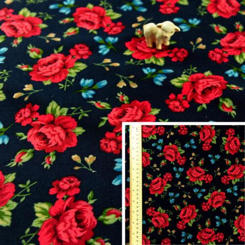 NAVY RED Fat QuarterCotton Fabric FQQuilt Sew Craft Material Gorgeous Rose