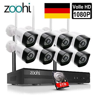 8CH 3MP Außen Funk Überwachungskamera System Wlan IP Kamera 1TB HDD Nachtsicht