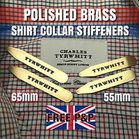 MENS CHARLES TYRWHITT 55mm 65mm SOLID BRASS SHIRT COLLAR STIFFENERS STAYS BONES