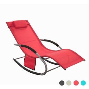 Détails sur SoBuy® Fauteuil à bascule Transat jardin Bain de soleil Rocking  Chair OGS28-R FR