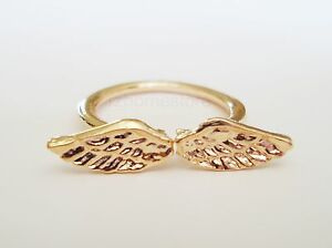 Above Over the Knuckle Ring Gold Silver MIDI ANGEL WINGS RING Top of Finger