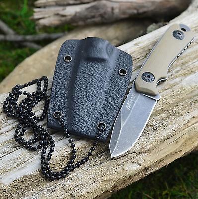 "MTech 4 3/4"" Stonewash Finish Tan G-10 Handle Tactical Neck Knife"