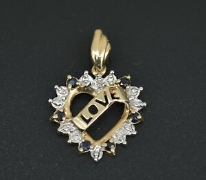 #JE145 NEW 10K Yellow Gold Heart Love Pendant With Sapphire Diamond Accents