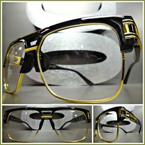 ea700873498 Mens CLASSIC VINTAGE RETRO Style Clear Lens EYE GLASSES Black Gold ...