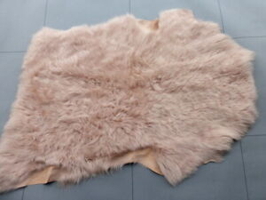 sheepskin leather hide Dusty Rose Long Wavy Toscana Silky Hair w/Smooth back