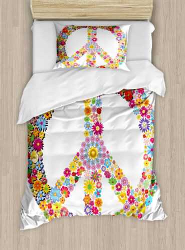 Hippie Duvet Cover Set with Pillow Shams Floral Peace Symbol Print