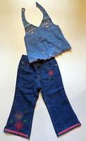 Old Navy Blue Denim Flower Floral Embroidery Halter Jeans 2pc Set 3t Cute
