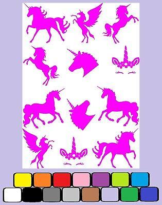 A4 Sheet Unicorn Vinyl Stickers Cute Princess Girl Girly Fun #10867