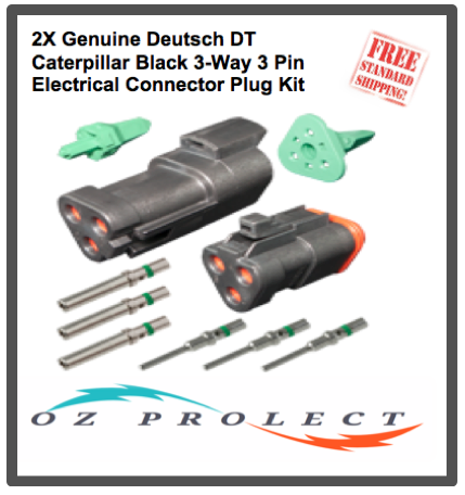 2X Deutsch DT Caterpillar Black 3-Way 3 Pin Electrical Connector Kit